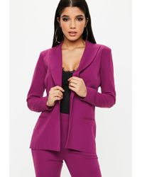 Missguided - Purple Single Button Front Longline Blazer - Lyst