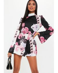 1ad9f8f565 Lyst - Missguided Black Paisley Print Kimono Sleeve Wrap Playsuit in ...