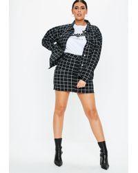 680dbc0fe88ffb Missguided - Plus Size Black Co Ord Grid Print Denim Jacket - Lyst