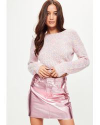 Missguided - Pink Fluffy Cropped Jumper - Lyst
