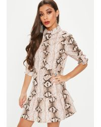 Missguided - Nude Snake Print Long Sleeve Dress - Lyst