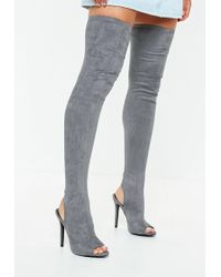 Missguided - Grey Peeptoe Over The Knee Boots - Lyst