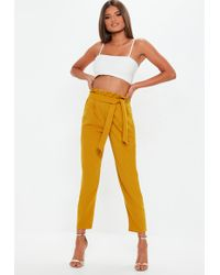 Missguided - Yellow Paperbag Pants - Lyst
