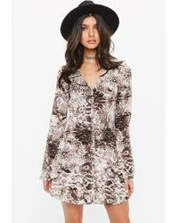 Missguided - Brown Snake Print Skater Dress - Lyst
