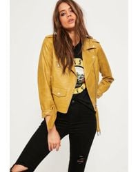 Missguided - Mustard Ultimate Faux Leather Biker Jacket - Lyst