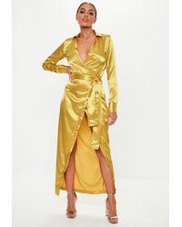 Missguided - Mustard Satin Tie Maxi Dress - Lyst
