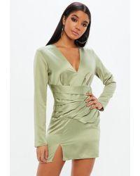 Missguided Silky Choker Wrap Skirt Shift Dress Rose Gold in Black - Lyst e96fcc2d3
