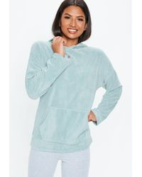 Missguided - Teal Velour Oversized Hoodie - Lyst