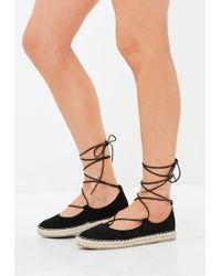 Missguided - Black Lace Up Espadrilles - Lyst
