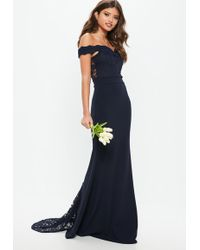 Missguided - Bridesmaid Navy Bardot Lace Insert Fishtail Maxi Dress - Lyst