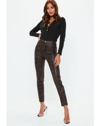 Missguided - Brown Croc Coated Skinny Double Popper Jeans - Lyst