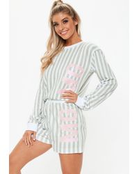 56685e15d1612 Missguided - Grey Stripe Mg Logo Short Pyjama Set - Lyst