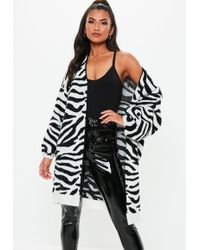 59454e8f79 Missguided - White Zebra Brushed Balloon Sleeve Knitted Cardigan - Lyst