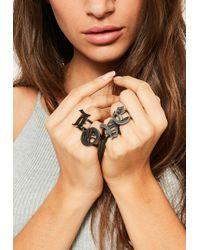 Missguided - Black Love Adjustable Ring Set - Lyst