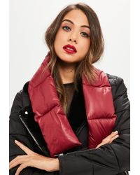 Missguided - Burgundy Padded Scarf - Lyst