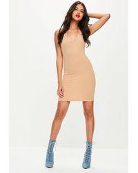 Missguided - Nude Halterneck Bodycon Dress - Lyst