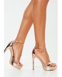 8a19dbd8cc6 Lyst - Missguided Nude Gladiator Platform Sandals in Natural