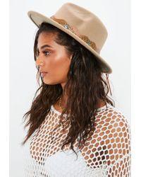 Missguided | Tan Brown Western Fedora Hat | Lyst