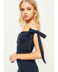 Missguided - Navy Crepe Sweetheart Neck Bardot Tie Maxi Dress - Lyst