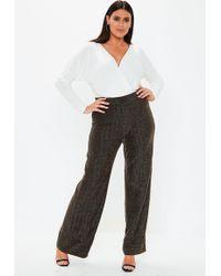 Missguided - Plus Size Black Glitter Wide Leg Trousers - Lyst