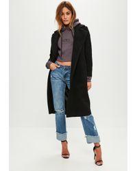 Missguided - Petite Black Faux Wool Duster Coat - Lyst