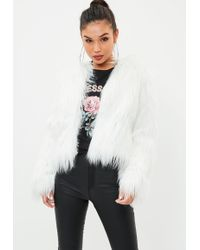 Missguided - White Shaggy Faux Fur Coat - Lyst