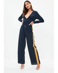 Missguided - Navy Wrap Side Stripe Wide Leg Jumpsuit - Lyst