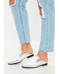 Missguided - White Studded Slip On Mules - Lyst