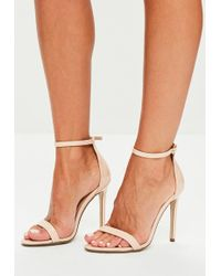 Missguided - Nude Patent Ankle Strap Heels - Lyst