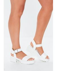 f200f93de24 Missguided Cleated Chunky Flatform Sandals Iridescent White in White ...