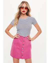 Missguided - White Stripe Fitted Crew Neck Top - Lyst