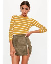 Missguided - Mustard Stripe Long Sleeve Ribbed Jumper - Lyst