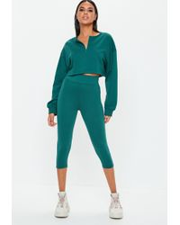 Missguided - Teal Cropped Leggings - Lyst