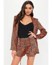 Missguided Rust Animal Print Lace Up Co Ord Shorts
