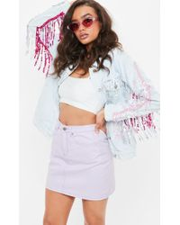 Missguided - Lilac Washed A Line Denim Mini Skirt - Lyst
