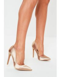 8f52559e757 Lyst - Missguided Nude Satin Pointed Toe Court Shoes in Natural
