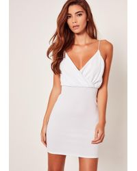 Missguided - Strappy Wrap Textured Bodycon Dress White - Lyst