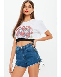 Missguided - Blue Highwaisted Extreme Lace Up Denim Shorts - Lyst