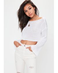 Missguided | White Flared Sleeve Cropped Knitted Jumper | Lyst
