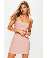 Missguided - Nude Ribbed Bralet - Lyst