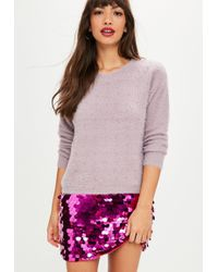 Missguided - Mauve Fluffy Studded Jumper - Lyst