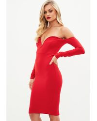 Missguided - Red V Bar Midi Dress - Lyst