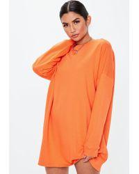 0c7048c092 Missguided Orange Crew Neck Oversized Sweater Dress in Orange - Lyst