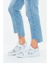 Missguided - White Marble Print Lace Up Flatform Trainers - Lyst