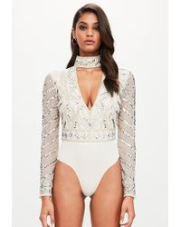 Missguided - Peace + Love Silver Embellished Choker Neck Bodysuit - Lyst