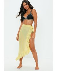 Missguided - Yellow Floral Frill Sarong Maxi Skirt - Lyst