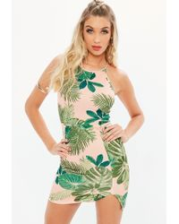Missguided - Pink Scuba 90s Neck Tropical Print Bodycon Dress - Lyst