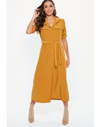 Missguided - Mustard Long Sleeve Utility Midi Shirt Dress - Lyst