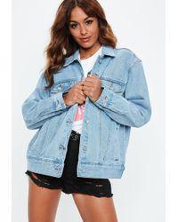 Missguided - Blue Oversized Denim Jacket - Lyst