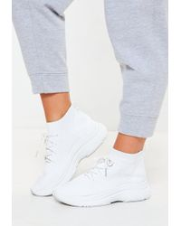 Missguided - White Knitted Lace Up Sock Sneakers - Lyst